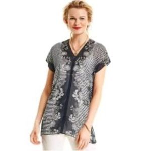 CABI Blue Floral Sheer Yacht Top Blouse -5024